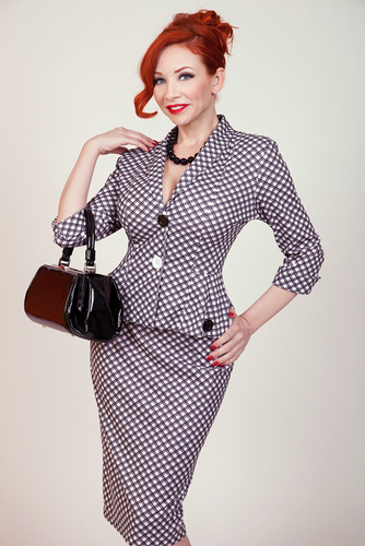 Checkers BETTIE PAGE Retro 50s  Plaid Pencil Skirt