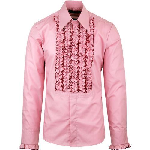 ceddec8d5 chenaski ruche frill tuxedo shirt rose pink