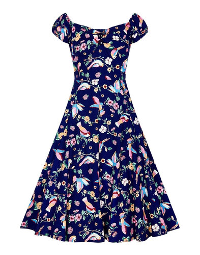 Dolores COLLECTIF 50s Vintage Charming Birds Dress