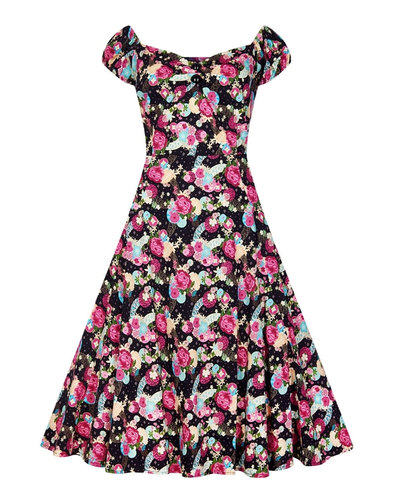 Dolores COLLECTIF 50s Peony Floral Dress in Black