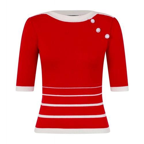 e2b3203607476 Collectif Vintage Armanda Retro 60s Mod Stripe Knit Jumper in Red