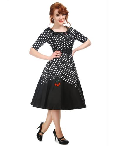 Collectif Retro 50s Cherry Polka Dot Swing Dress