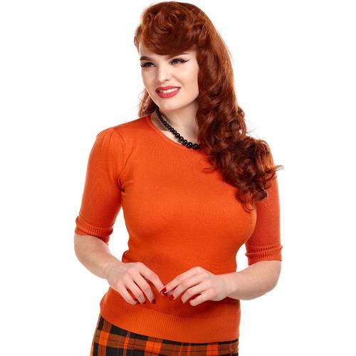 7237bdc639 Collectif Chrissie Retro 1950s Vintage Plain Knitted Top in Orange
