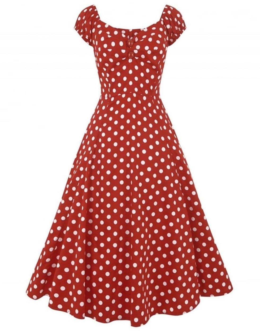 Collectif Retro Vintage Dolores Doll Dress Red Dot