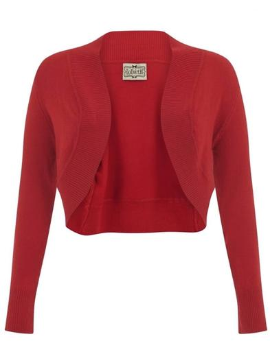 Collectif Retro 50s Jean Bolero Cardigan Red