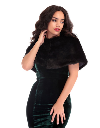 Lillian COLLECTIF Vintage 50s Faux Fur Cape BLACK