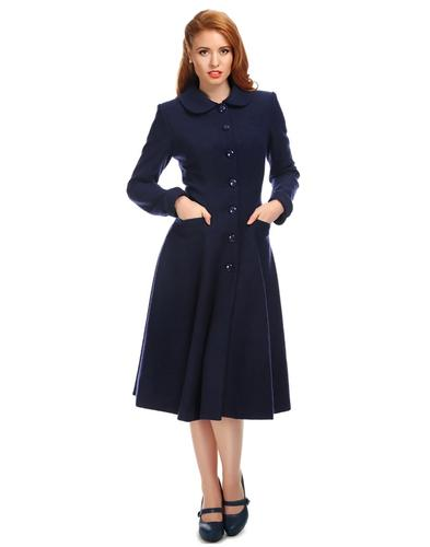 Collectif Retro 50s Women's Coat Lillian Navy