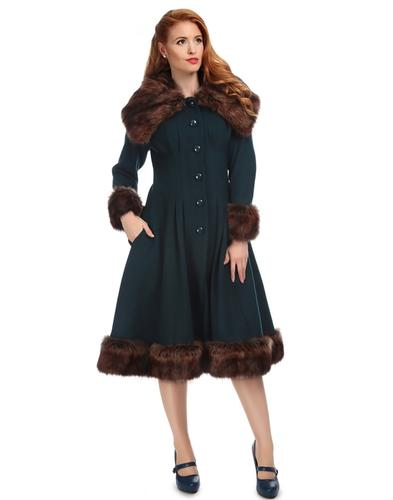 Pearl COLLECTIF Vintage 1950s Faux Fur Coat Blue