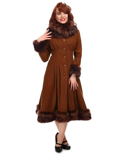 Pearl COLLECTIF Vintage 1950s Faux Fur Coat in Tan