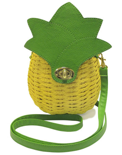 Pineapple Bag COLLECTIF Retro 50s Wicker Handbag