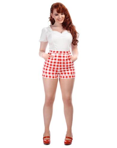 Collectif Retro 50s High Waist Gingham Shorts Red