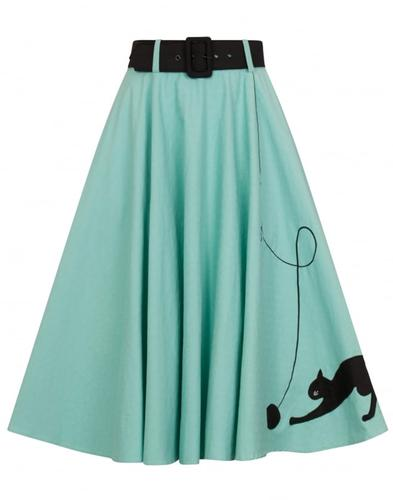 Collectif Retro 50s Kitty Cat Swing Skirt Green