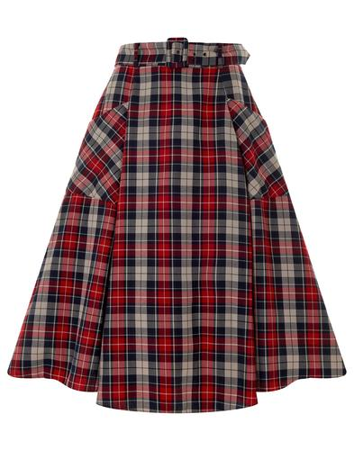 Mia Sherwood COLLECTIF Retro Check Swing Skirt