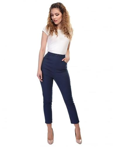 Talis COLLECTIF Retro 50s Cigarette Trousers Navy