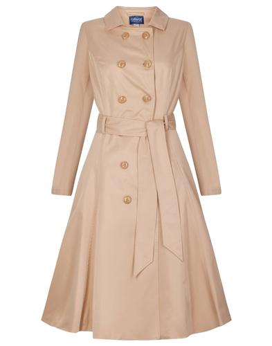 Collectif Korinna Retro Vintage Trench Coat Beige