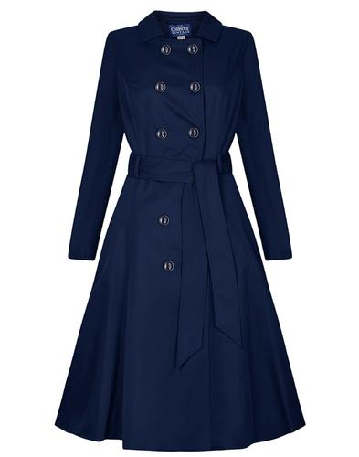 Collectif Korinna Retro Vintage Trench Coat Navy