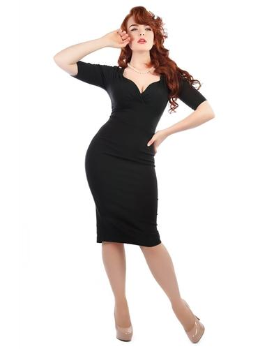 Trixie COLLECTIF Retro Vintage Black Pencil Dress