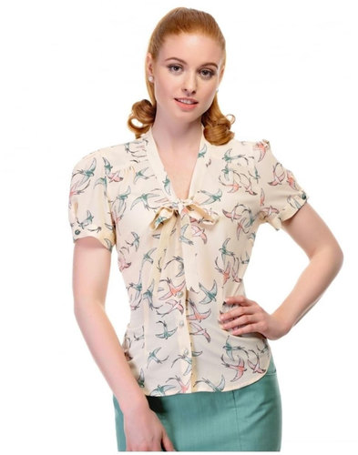 Collectif Retro Vintage 50s style Shirt Swallows