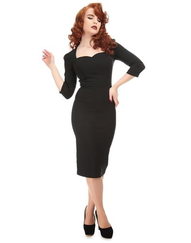 Collectif Retro 50s Vanessa Pencil Dress Black