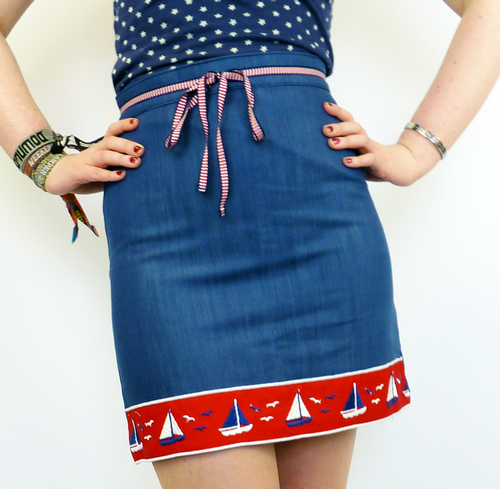 South Pacific DAINTY JUNE Retro Denim Pencil Skirt