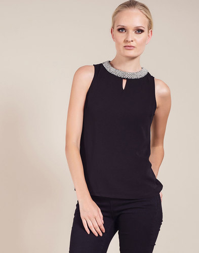 Irene DARLING Retro Vintage Crepe Top in Black