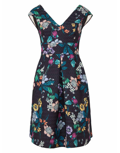 Zahara DARLING Vintage Floral Mosaic Dress BLACK