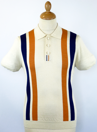 DAVID WATTS Retro Mod Racing Stripe Knit Polo (C)
