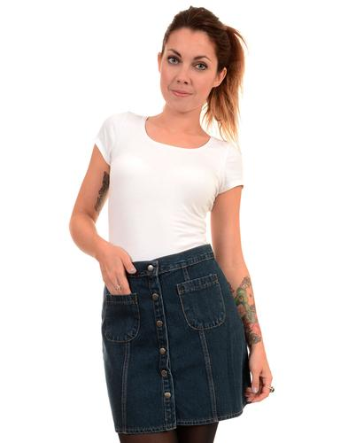 Retro 1970s Stonewash Denim Snap Front Mini Skirt
