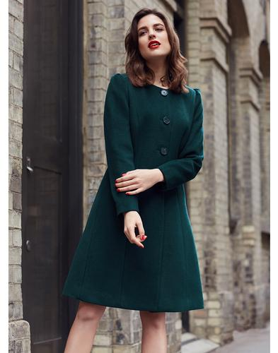 Amelia EMILY AND FIN Retro 60s Collarless Coat Grn