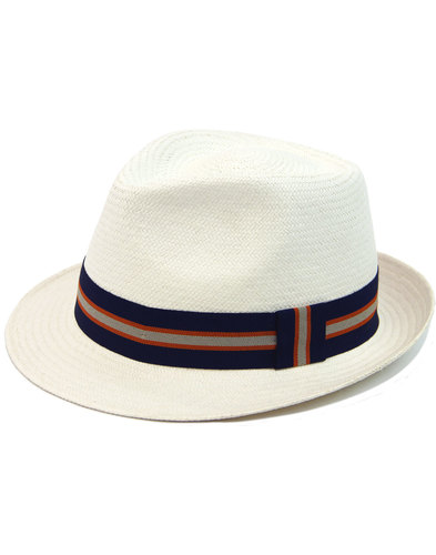 FAILSWORTH Mod Boating Stripe Trim Panama Trilby