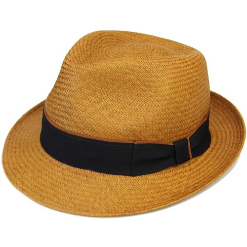 521ef9a5 Failsworth Men's Retro 1970s Straw Panama Trilby Hat in Mustard