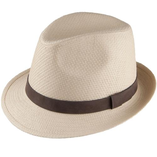 479fdf76 Failsworth Men's Retro 1970s Straw Trilby Hat in Dove/Natural