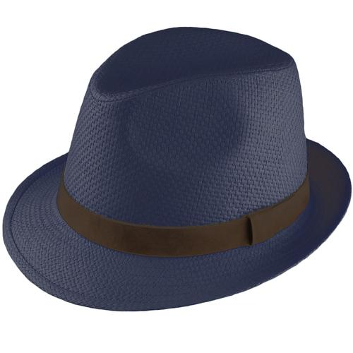 Failsworth Men s Retro 1970s Straw Trilby Hat in Navy 2b6f812d5f9d