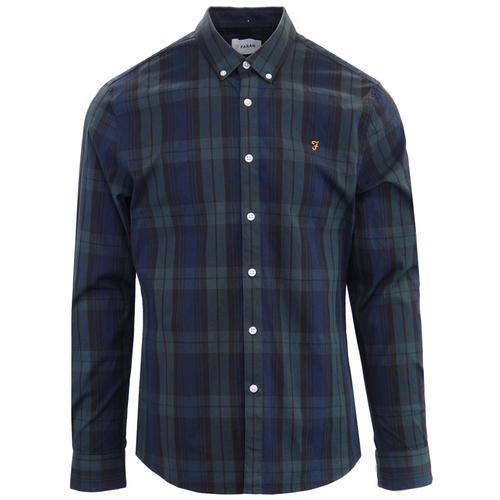 54dea1047607 Farah Brewer 1960s Mod Button Down Blackwatch Tartan Shirt in Green
