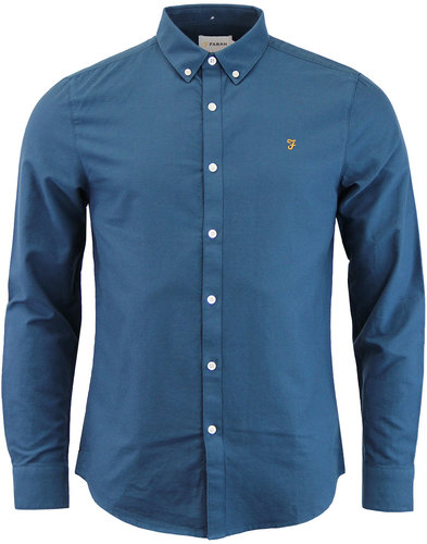 Brewer FARAH Mod Slim L/S Oxford Shirt ATLANTIC