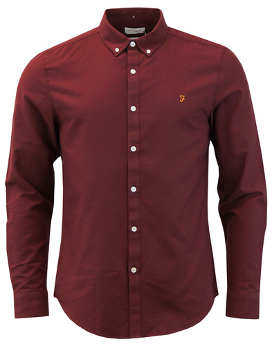 Brewer FARAH Mod Slim Button Down Oxford Shirt RED