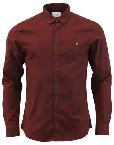 Steen FARAH Retro Mod Two Tone Oxford Shirt BRICK