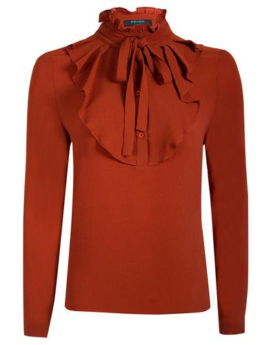 Iris FEVER Retro Vintage Ruffle Shirt in Cinnamon