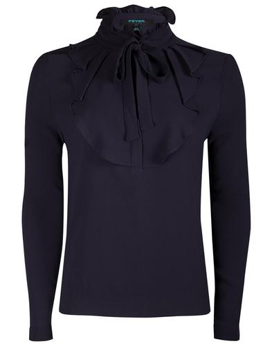 Iris FEVER Retro Vintage Ruffle Shirt in Navy