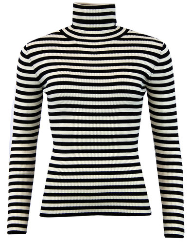 Lacanau FEVER 60s Mod Ribbed Stripe Roll Neck Top