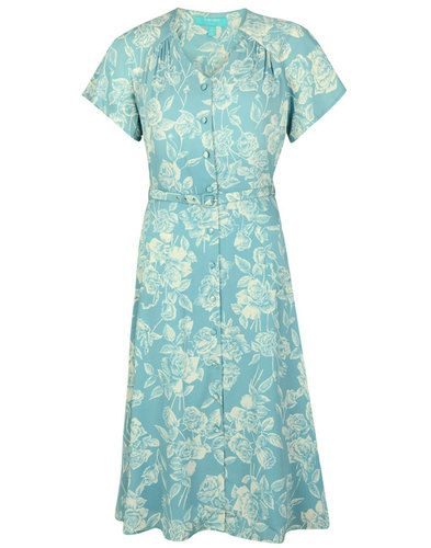 Darla FEVER Retro 50s Antique Floral V-Neck Dress