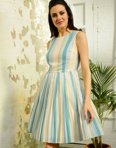 FEVER DESIGNS Retro 50s Pastel Stripe Prom Dress