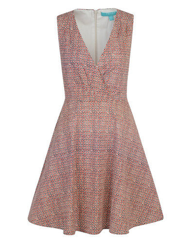 Seurat FEVER Retro 60s Geo Print V-Neckline Dress