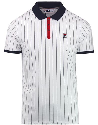 BB1 FILA VINTAGE Retro Borg Tennis Polo Top W/N/R