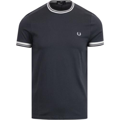 6f11fcb88 fred perry mens retro mod twin tipped crew neck tshirt graphite white
