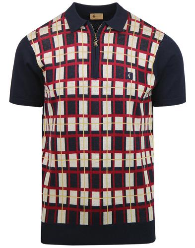 Krypton GABICCI VINTAGE Retro Check Knit Polo Top