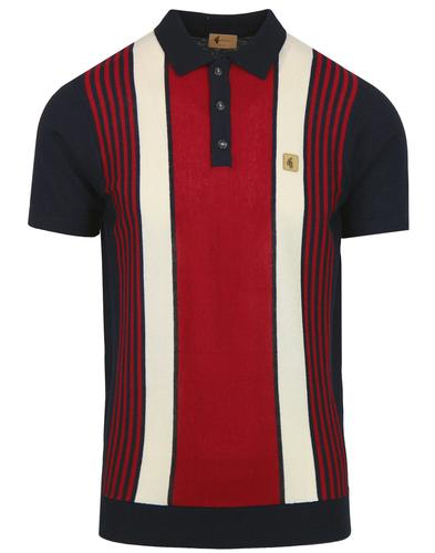 Searle GABICCI VINTAGE Mod Stripe Knit Polo NAVY