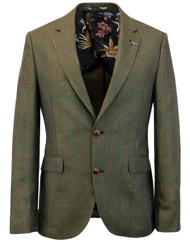 GIBSON LONDON Mod Linen Windowpane Check Jacket