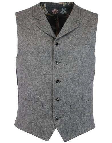 GIBSON LONDON High Fasten Grey Donegal Waistcoat