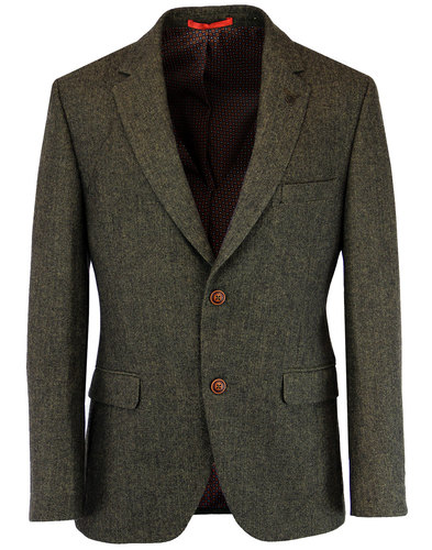 GIBSON LONDON Retro Mod Herringbone Suit Jacket